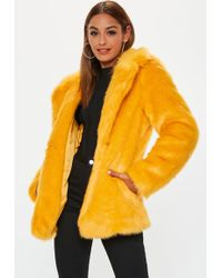 7442066c4b7d Lyst - Missguided Blue Extreme Faux Fur Collar Wool Coat in Blue
