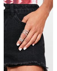 Missguided - Silver Chain Diamante Ring - Lyst