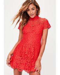 e0859c6268 Missguided - Red Short Sleeve Lace Double Layer Dress - Lyst