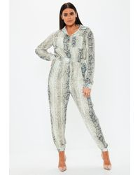 Missguided - Plus Size Grey Snake Print Utility Jumpsuit - Lyst