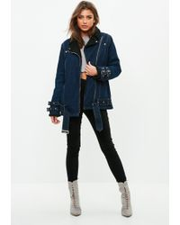 Missguided - Blue Borg Lined Denim Aviator Jacket - Lyst