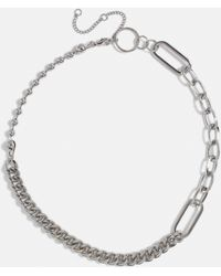 Missguided - Silver Look Mix Link Chain Necklace - Lyst