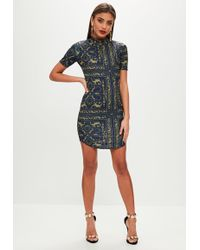 Missguided - Navy Printed High Neck Bodycon Dress - Lyst