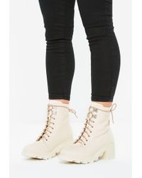 3287638ff30 Lyst - Missguided Pointed Toe Neoprene Over The Knee Boot Cream in ...