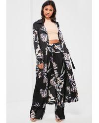 Missguided - Black Floral Print Zip Detail Duster Coat - Lyst