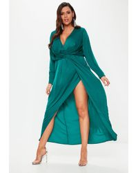Missguided - Plus Size Teal Wrap Knot Front Maxi Dress - Lyst