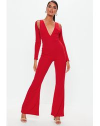 c0125a0d16 Lyst - Missguided Navy Satin High Neck Wrap Jumpsuit in Blue