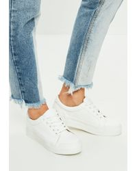 Missguided - White Faux Leather Flatform Trainers - Lyst