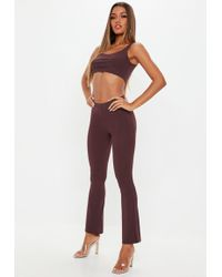 Missguided - Wine Flared Pants And Bralet Co Ord - Lyst