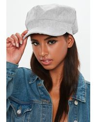 Missguided - Grey Cord Baker Boy Hat - Lyst