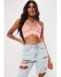 Missguided - Pink Strappy Harness Bralet - Lyst