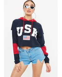Missguided - Navy Usa Colour Block Cropped Hoodie - Lyst