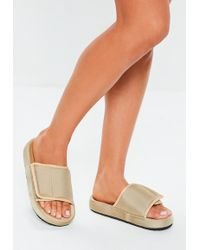 Missguided - Sand Padded Canvas Sliders - Lyst