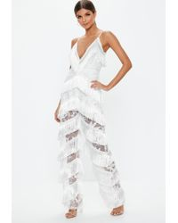 d824877c2848 Missguided - White Plunge Fringe Lace Jumpsuit - Lyst