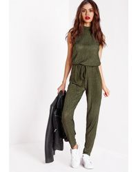 Missguided - Roll Neck Skinny Rib Jumpsuit Khaki - Lyst