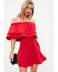 Missguided - Red Ruffle Layer Bardot Swing Dress - Lyst