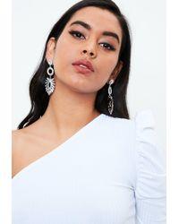 Missguided - Silver Triple Crystal Earrings - Lyst