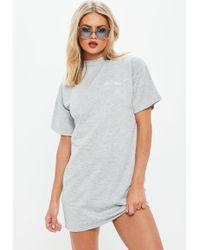 Missguided - Gray Jersey Cali Girl T-shirt Dress - Lyst