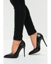 Missguided - Black Studded Court Shoes - Lyst