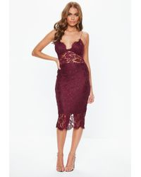 Missguided - Burgundy Strappy Lace Midi Dress - Lyst
