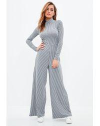 Missguided | Grey Rib High Neck Wide Leg Jumpsuit | Lyst