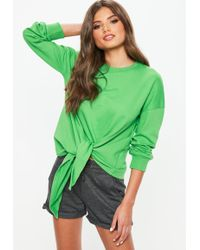 Missguided - Green Knot Hem Long Sleeve Sweatshirt - Lyst