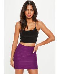 Missguided - Purple Bandage Mini Skirt - Lyst