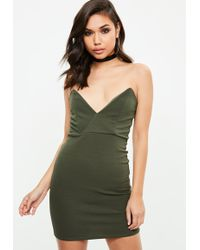 Missguided - Khaki Crepe Bodycon Dress - Lyst
