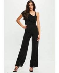 Missguided - Black Drape Shoulder Slinky Wide Leg Jumpsuit - Lyst