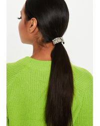 Missguided - Gray Snake Print Band Hair Bobble - Lyst