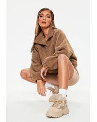 Missguided - Brown Teddy Zip Up Sweatshirt - Lyst
