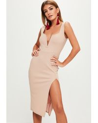 Missguided - Nude V Bar Dress - Lyst