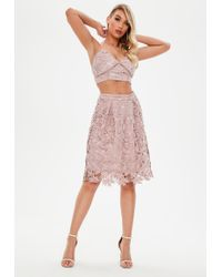 Missguided - Pink Crochet Lace High Waisted Midi Skater Skirt - Lyst