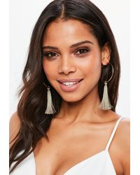 Missguided - Rose Gold Hoop Tassel Earrings - Lyst