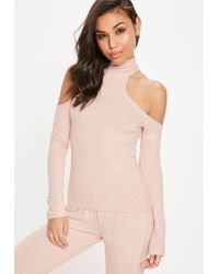 Missguided - Nude Brushed Cold Shoulder Top - Lyst