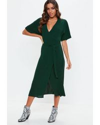 Missguided - Green Short Sleeve Tie Belt Midi Dress - Lyst
