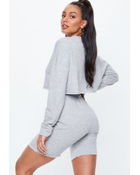 Missguided - Grey Marl Cropped Jumper Cycling Shorts Set - Lyst