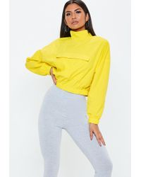 Missguided - Yellow Overhead Crop Jacket - Lyst