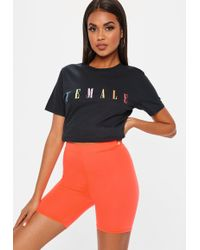 Missguided - Neon Orange Cycling Shorts - Lyst