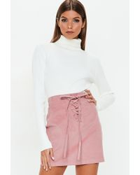 cbb83a04b9 Missguided - Pink Corduroy Lace Up Front Mini Skirt - Lyst