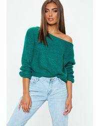 Missguided - Green Crop Off Shoulder Knitted Jumper - Lyst