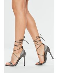 ceb9cdb59a7 Lyst - Missguided Lace Up Stiletto Heeled Shoes Nude in Natural