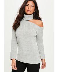 Missguided | Grey Deconstructed Neck Oversized Jumper | Lyst