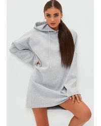 Missguided - Grey Ribbed Hooded Flare Sleeve Jumper Dress - Lyst