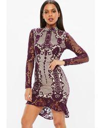 Missguided - Purple Lace Flippy Hem Bodycon Dress - Lyst
