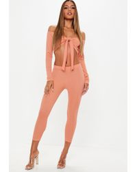Missguided - Terracotta Ribbed Leggings And Tie Front Crop Top Co-ord - Lyst