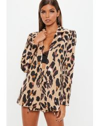 Missguided - Brown Leopard Gathered Sleeve Blazer - Lyst