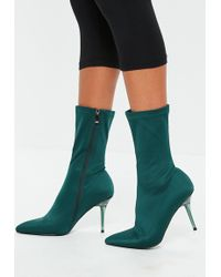 Missguided - Turquoise Perspex Heel Sock Boot - Lyst