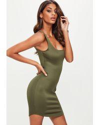 Missguided - Khaki Scuba Square Neck Bodycon Dress - Lyst