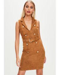 Missguided - Camel Suedette Blazer Dress With Belt Detail - Lyst
